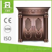 2016 diseño único buena superficie doble hoja de cobre imitación puerta de seguridad