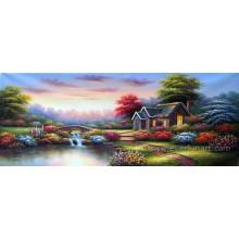 Jardín hermoso paisaje pintura al óleo China Inicio decoración al por mayor (ERL-066)
