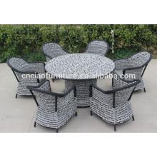 F- Foshan extérieur moderne meubles de jardin en rotin table à manger ensembles (CF741 + CF1274T + CF1244C)