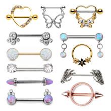 Right Grand ATSM F136 Titanium Stainless Steel Nipple Ring Body Piercing Jewelry