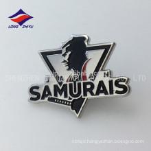 Custom metal nickel plating samurais Japan badge