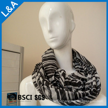 Lady Fashion Striped Infinity Scarf