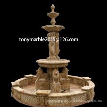 Бежевый каменный фонтан скульптуры воды для украшения сада (SY-F005)