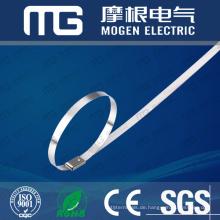 Kundengebundene selbstsichernde Edelstahlkabelbinder 4,6 * 300mm mit hoher Zugfestigkeit