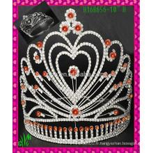 Nouveau design en gros, couronne rhinestone en gros coeur coeur
