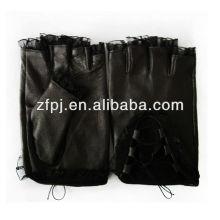 women's fingerless summer leather driving gloves