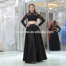 Vestido formal de encaje con apliques de encaje 2017 Vestido largo de cuello alto con cuello en pico negro de manga larga 2 piezas