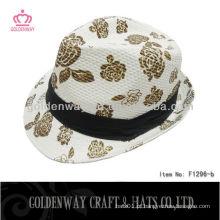 Girl 'Fedora Hat padrão floral para mulheres bonitos chapéus para o verão