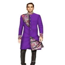Kente ethnic turtle collar flora printed loose fit African clothing java wax 100% cotton men's long blouse shirt Dashikis