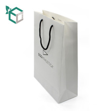 Environmental white kraft paper black logo printing cotton string pantone color inside paper bag