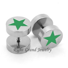 316L Surgical Steel Green Star Earring Non Piercing Body Jewelry