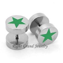 316L Хирургическая сталь Зеленая Звезда серьги для пирсинга ювелирные изделия