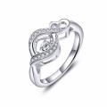 Infinity Heart Dancing Anéis de diamante Jóias 925 Anéis de Prata