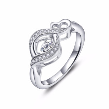 Infinity Heart Dancing Diamond Rings Bijoux 925 Bague en argent