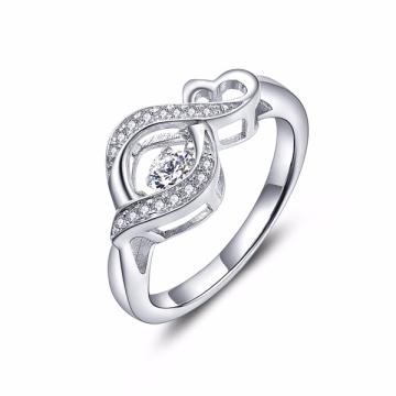 Anillo de plata de la joyería 925 de los anillos de diamante del baile del corazón del infinito