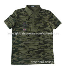 Men's short sleeve polo shirt, army camouflage design for personalized fashion, OEM is available