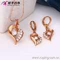 63105 Xuping fashion jewelry, Heart shape with rose gold designs,and pendant stone plated jewelry sets