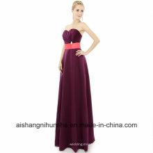 Vestidos de dama de honra até o chão longo a linha querida vestido de festa de casamento