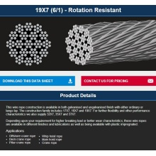 Offshore/hoist/crane non-rotating wire rope 19*7