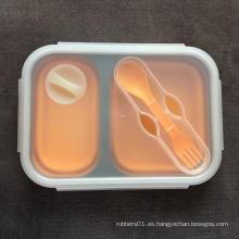 Caja bento contenedor de silicona de grado alimenticio