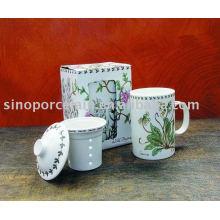 11oz caneca de chá de porcelana com filtro e tampa para BS09158
