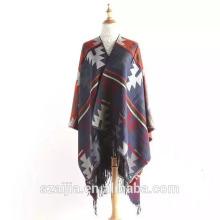 Mode manteau jacquard filles hiver pashmina poncho