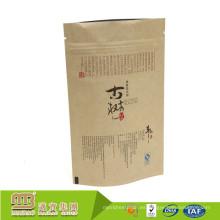 Bolsa de papel natural biodegradable de Kraft de la NUEVA LLEGADA de la categoría alimenticia de la LLEGADA con la cerradura de la cremallera
