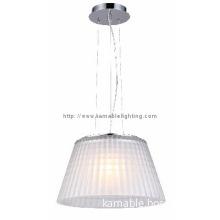 White elegant steel glass shade pendant light