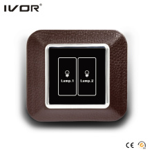2 Gangs Lighting Switch Touch Panel Leather Outline Frame (AXL-LE-L2)