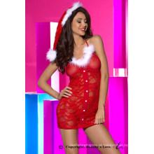 Vestido de noiva novo e grosso de noiva, lingerie de Natal Sexy, Traje sexy de Natal Traje de Natal de mulheres vermelhas com renda vermelha