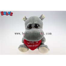 Valentines Day Gift Toy Big Eyes Stuffed Grey Hippo Animal Toys with Red Heart Pillow Bos1175