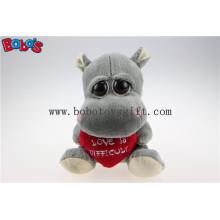 Игрушка подарка дня Valentines Большие глаза заполненные серыми игрушками животных Hippo с красной подушкой сердца Bos1175