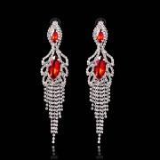 Dangle Earrings Red Clear Rhinestone Chandelier Eardrop