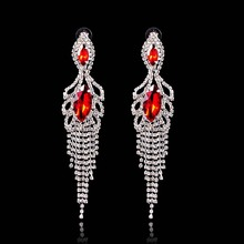 Dangle Earrings Red Clear Rhinestone Chandelier Eardrop