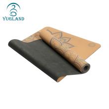 Yugland custom logo printed eco friendly tpe durable non-slip  cork yoga mat