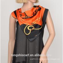 Damenmode neuen Druck Polyester Satin Dreieck Schal Schal