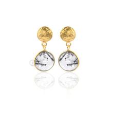 925 Sterling Silber Ohrringe, schwarz Rutil Edelstein Gold Ohrringe für Frauen
