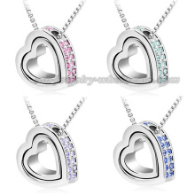 Heart Pendants Sweater Chain Rhinestone Necklace