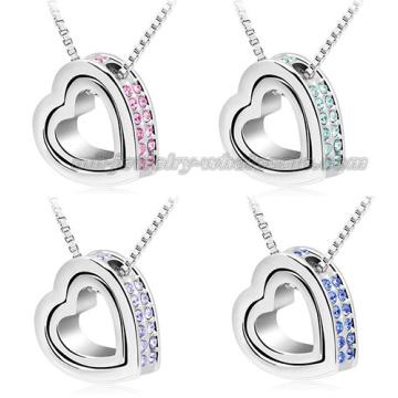 Heart Pendants Sweater Chain Rhinestone Necklace