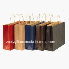 Vente en gros de sacs de transport en papier Kraft Kraft recyclés à bas prix avec poignée torsadée