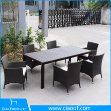PS Wood Table And Aluminum Feet Arm Chair Dining Set