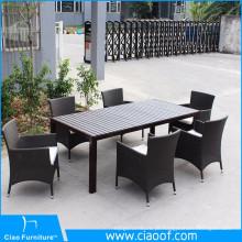 Tabela da madeira do picosegundo e grupo de alumínio do jantar da cadeira do braço dos pés