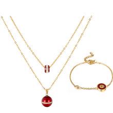 S-291 Xuping мода индийских золотых украшений простой дизайн бисера браслет + ожерелье из двух частей позолоченный комплект ювелирных изделий для женщин