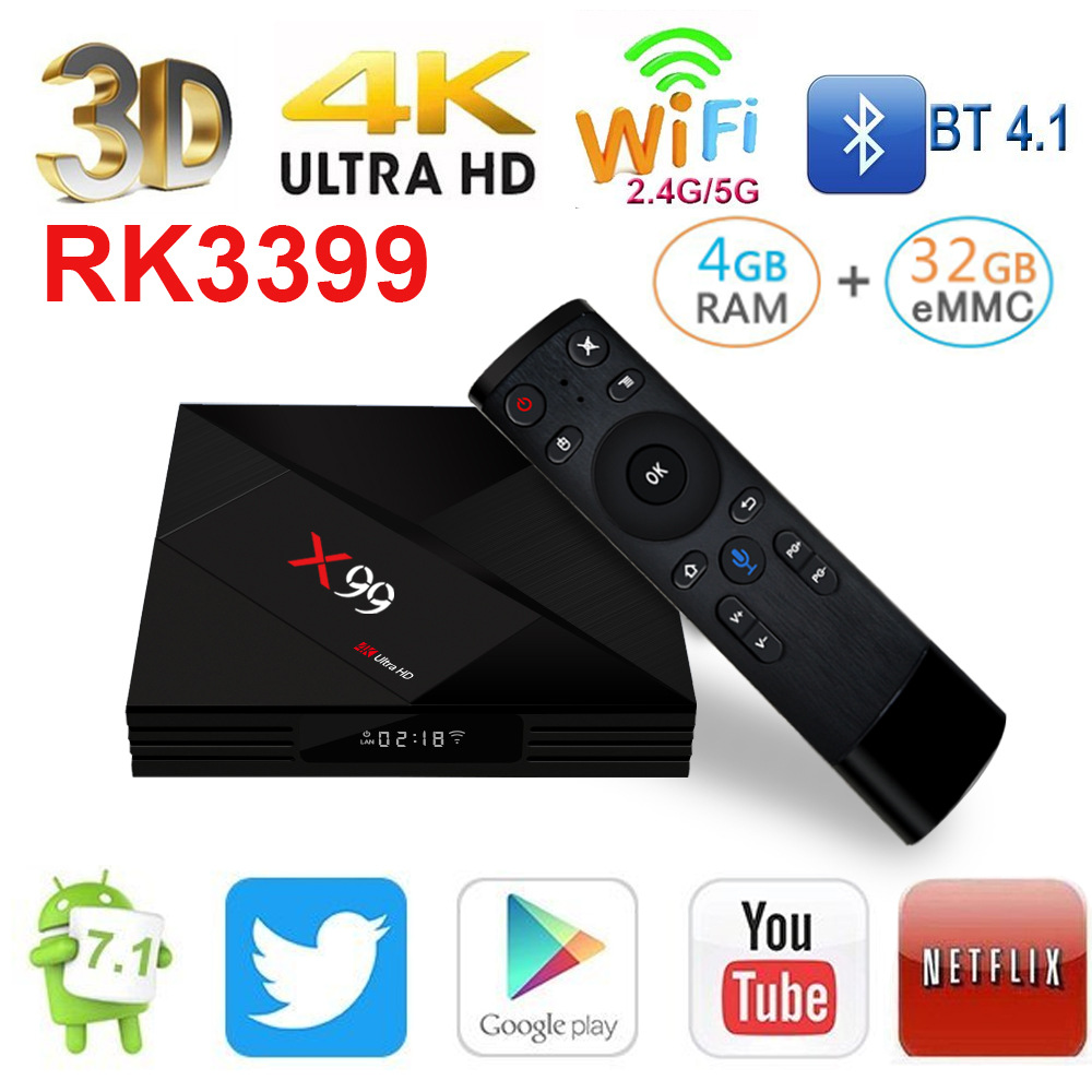 X99 Android 7.1 4G 32G RK3399 TV Box