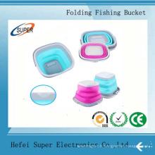 Seau de pêche pliant portatif multifonctionnel portatif