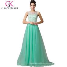 Grace Karin sin mangas A-Line vestidos largos del baile de fin de curso del verde del cordón CL6108-1 #
