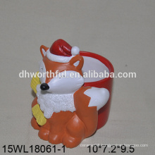 Lovely orange fox shaped ceramic flower pot