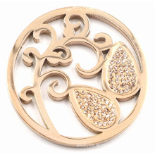 Rose Gold Baum Münze Platte Fit 33/35 / 38mm Locket Anhänger