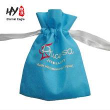 Bolso de la manija del yute del vino del lazo con cordones reforzado no tejido del logotipo 2-color