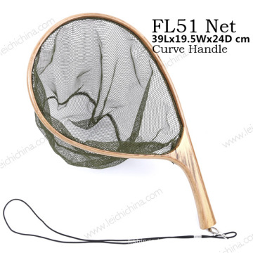 New Portable Curve Handle Fishing Nylon Landing Net